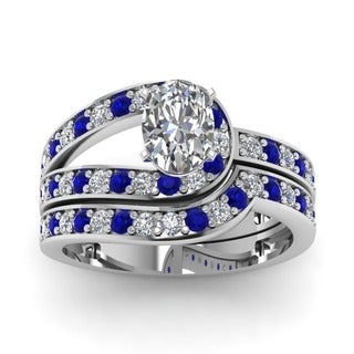 14k White Gold 1 1/4ct TDW Oval-cut Diamond and Blue Sapphire Engagement Ring (G-H, VVS1-VVS2)