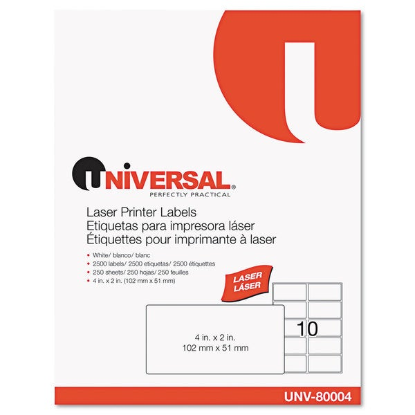 Universal White Laser Printer Permanent Labels (Box of 2500)