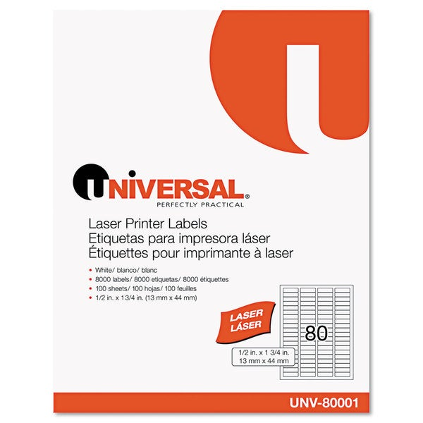 Universal White Laser Printer Permanent Labels (2 Packs of 8000)