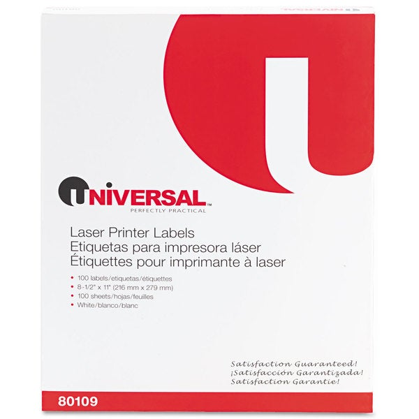 Universal White Laser Printer Permanent Labels (2 Packs of 100)