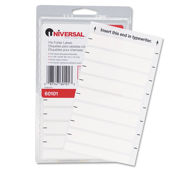 Universal White Typewriter-Compatible File Folder Labels (8 Packs of 248)