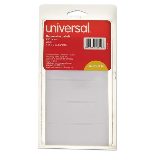 Universal White Removable Self-Adhesive Multi-Use Labels (9 Packs of 250)