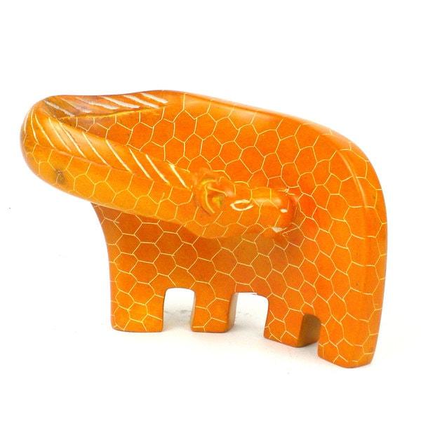 Handcrafted Large Giraffe Soapstone Sculpture in Orange
