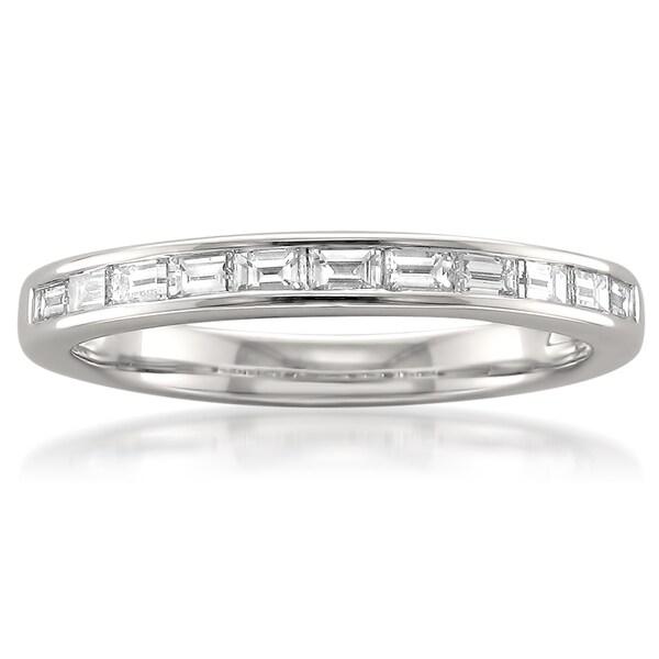 Montebello Platinum 1 2ct TDW Baguette Cut White Diamond Channel Set Wedding Band G H VS1 VS2