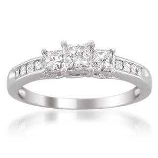 14k White Gold 1ct TDW Princess-cut 3-Stone White Diamond Engagement Ring (G-H, VS1-VS2)