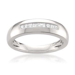 Platinum Men's 1/4ct TDW Princess-cut White Diamond Wedding Band (G-H, VS1-VS2)