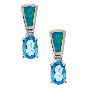 14k white gold earring with blue topaz, inlay opal and 0.06ct tdw