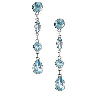 14k white gold blue topaz earring