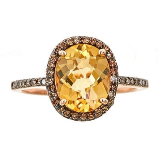 14k rose gold with citrine and brown diamond ring