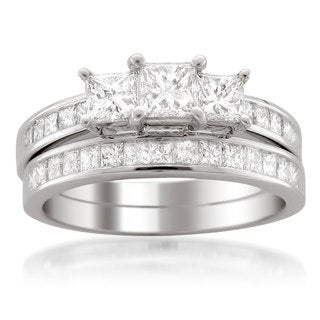 Montebello 14k White Gold 2ct TDW Princess-cut 3-Stone White Diamond 2-piece Bridal Set (G-H, VS1-VS2)