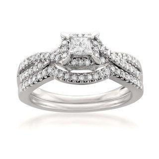 14k White Gold 1/2ct TDW Princess-cut White Diamond 2-piece Bridal Set (H-I, SI2)