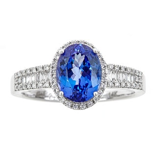 14k white gold tanzanite and white diamond ring