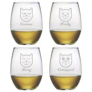 Feline Faces Stemless Wine Glass (Set of 4)