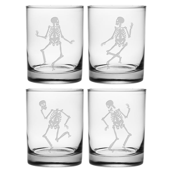 Dance of the Dead Rocks Glass (Set of 4)