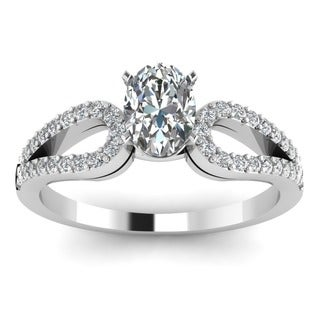 14k White Gold 3/4ct TDW Oval-cut Diamond Loop Shank Engagement Ring (G-H, SI1-SI2)