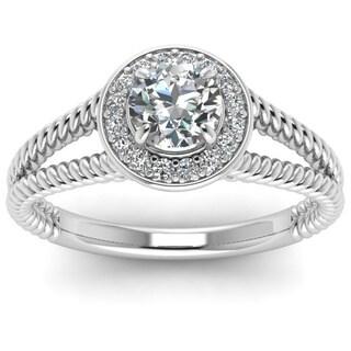 14k White Gold 1/2ct TDW Pave-set Round Diamond Split Shank Halo Engagement Ring (G-H, SI1-SI2)