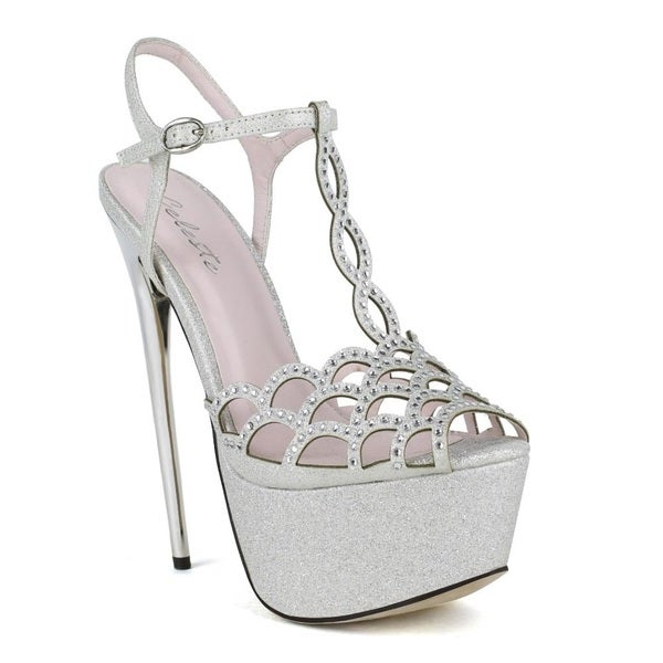 Celeste Women's Hilary-02 Rhinestone Embellished Laser-Cut T-strap Peep-Toe High Heel Sandal