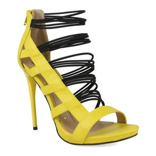 Fahrenheit Women's Giselle-05 Strappy Elastic Band Cage High Heel Sandal