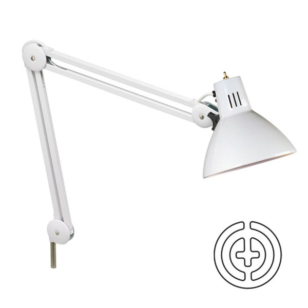 Dainolite Incandescent Examination Lamp with Wire Bulb Protector (Louvre) in Gloss White finish