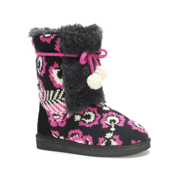 Muk Luks Girls' Black Floral Jewel Boots