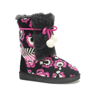 Muk Luks Girls' Black Floral Jewel Boots