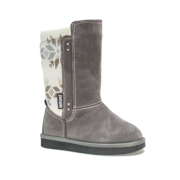 Muk Luks Girls' Grey Snowflake Stacy Boots