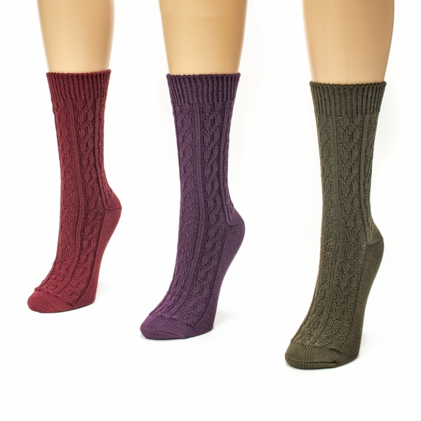 Muk Luks Women's 3-pair Cable Crew Sock Pack