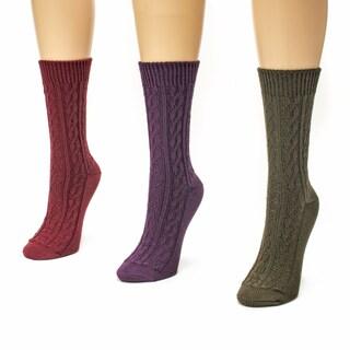 Muk Luks Women's 3-pair Cable Crew Sock Pack