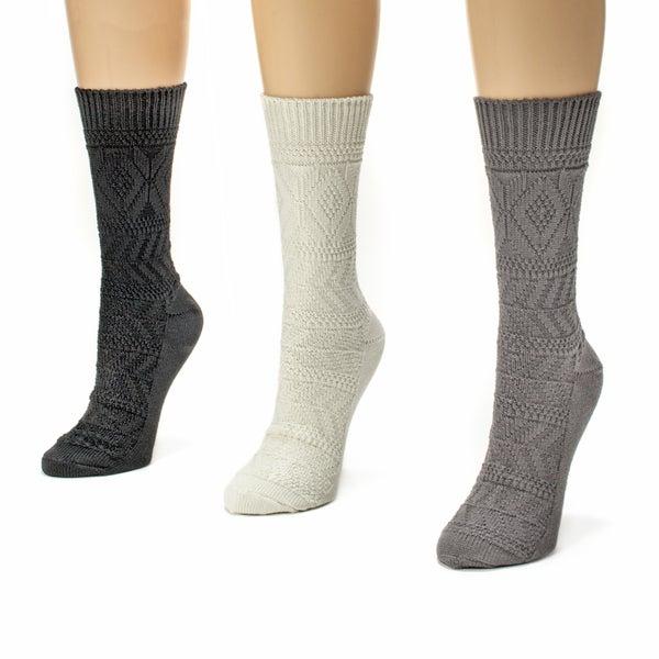 Muk Luks Women's 3-pair Diamond Crew Sock Pack
