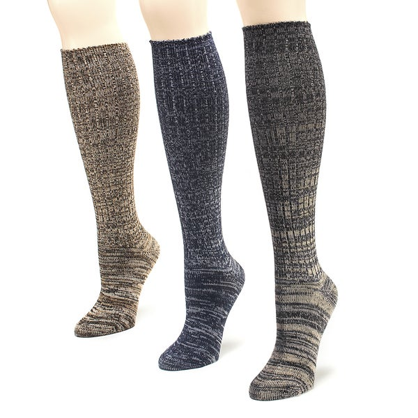 Muk Luks Women's Classic Marl Knee High Socks (Pack of 3)