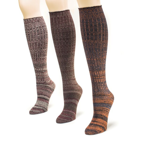 Muk Luks Women's Festival Marl Knee High Socks (Pack of 3)