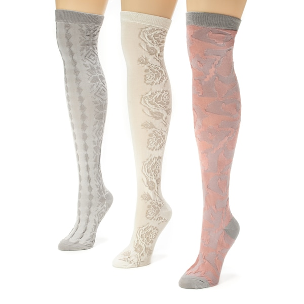 Muk Luks Women's 3-pair Over the Knee Microfiber Socks