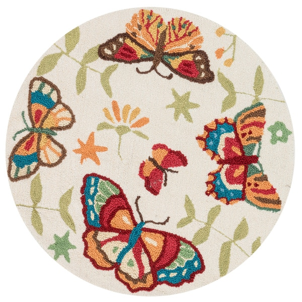 Hand-hooked Peony Ivory/ Butterfly Round Rug (3' Round)
