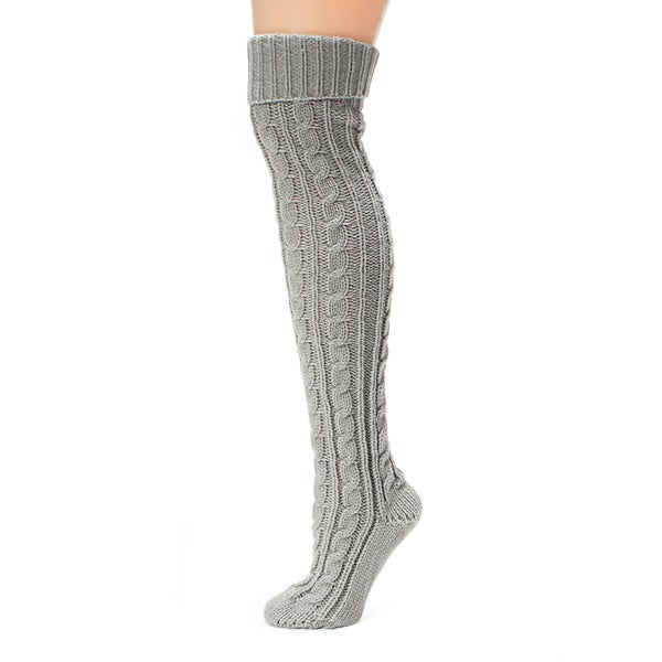 Muk Luks Women's Soft Grey Cable Knit Over the Knee Socks