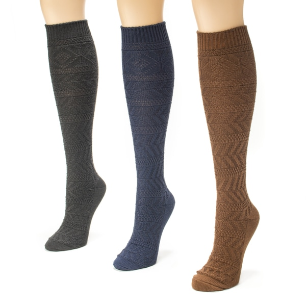 Muk Luks Women's Diamond Boot Sock Pack (Pack of 3)