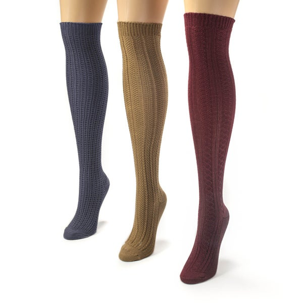 Muk Luks Women's Multi Over the Knee Textured Socks (Pack of 3)
