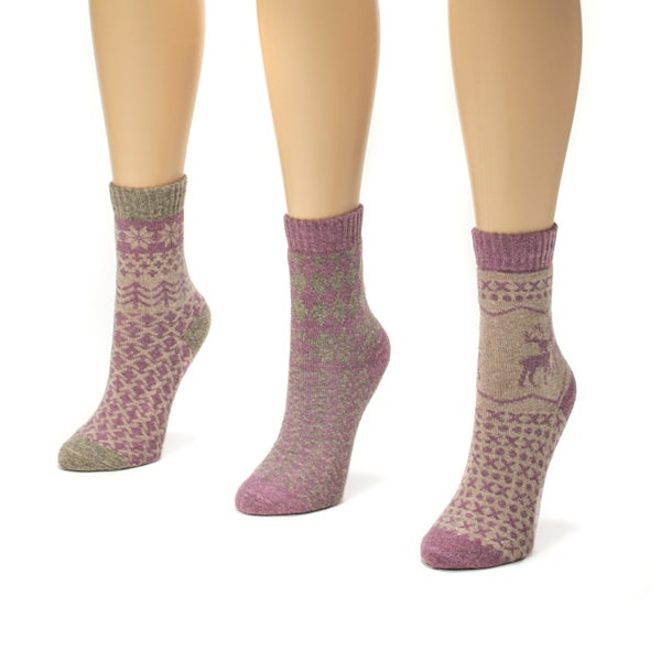 Muk Luks Women's Pastel Holiday Crew Socks (Pack of 3)