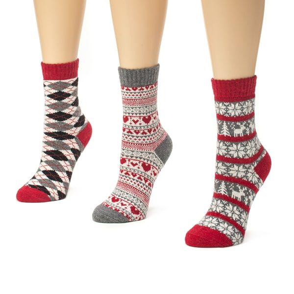 Muk Luks Women's Classic Holiday Crew Socks (Pack of 3)