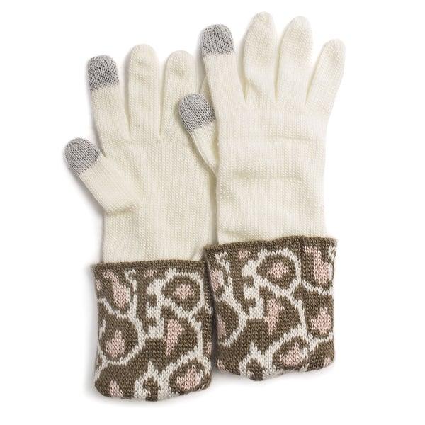 Muk Luks Women's Leopard Cuff Gloves