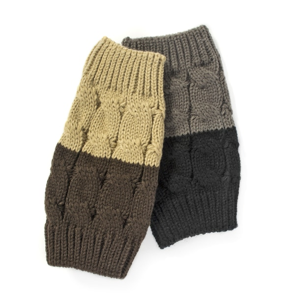 Muk Luks Women's Black/ Dark Chocolate Reversible Boot Toppers (Pack of 2)