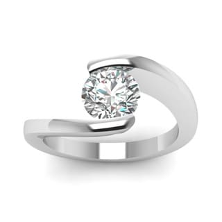 14k White Gold 1/2ct TDW Round-cut Diamond Solitaire Swirl Engagement Ring (G-H, SI1-SI2)