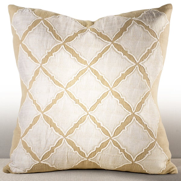 Medina Ivory Chenille Embroidered 18-inch Feather and Down Filled Throw Pillow with Silk Applique