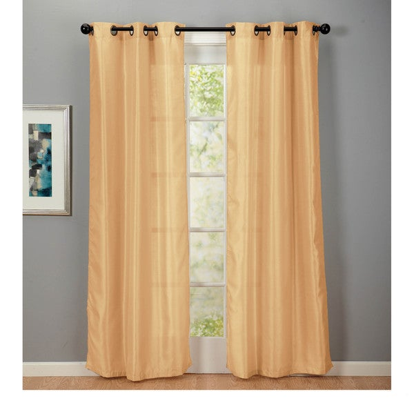 Faux Silk Stripe Rod Pocket 84 Inch Curtain Panel Pair ...