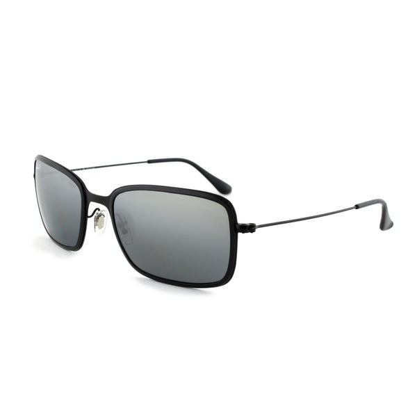 Ray-Ban RB3514M 153/82 Polarized Sunglasses with a Black Frame and Grey Mirrored Lenses