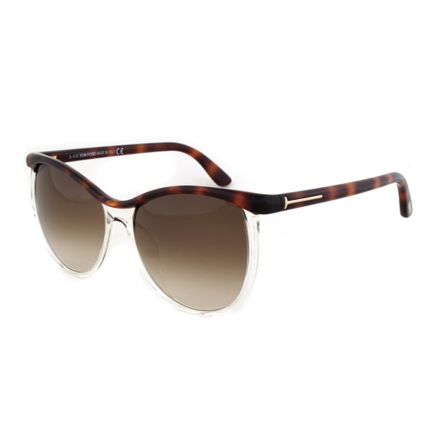 Tom Ford TF9307 56F Asian Fit Sunglasses, Tortoise/Clear Frame, Brown Gradient Lens