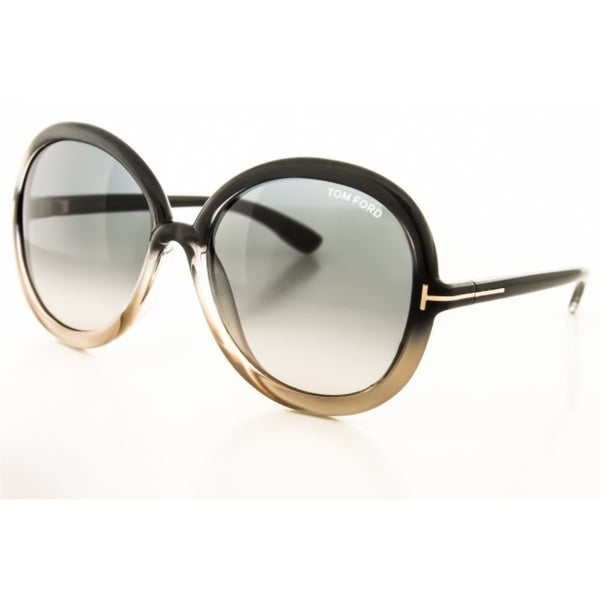 Tom Ford TF9276 20B Oval Sunglasses, Dark Grey/Blush Frame, Grey Gradient Lens