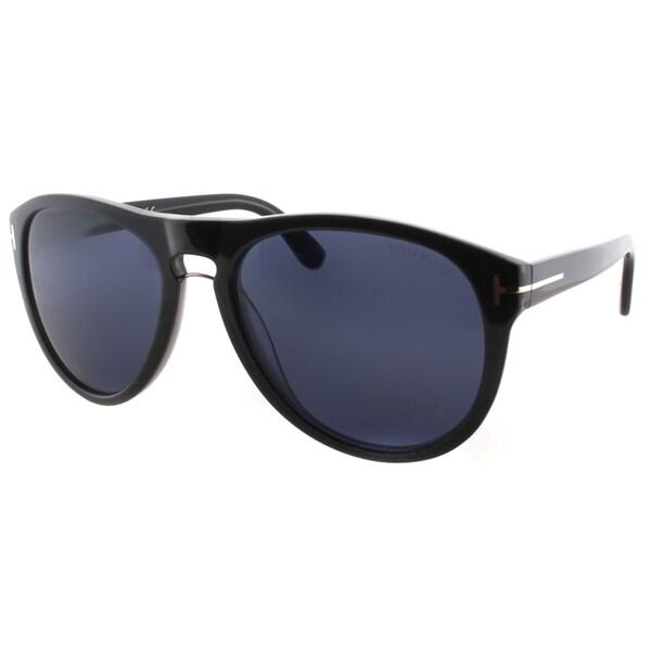 Tom Ford TF347 50J Kurt Sunglasses, Grey Frame, Blue Lens