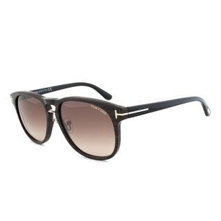 Tom Ford TF346 05K Franklin Sunglasses, Brown/Black Banded Frame, Brown Gradient Lens
