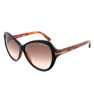 Tom Ford TF326 03F Valentina Sunglasses with a Black/Havana Frame and Brown Gradient Lenses