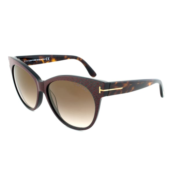 Tom Ford TF330 98G Saskia Sunglasses with a Brown/Green Banded Frame and Brown Gradient Lenses